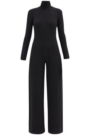 Norma Kamali Damen Jumpsuits - High-neck Jersey Wide-leg Jumpsuit