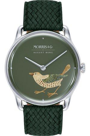 August Berg Uhr MORRIS & CO 'Silver Bird' Green Perlon 38mm