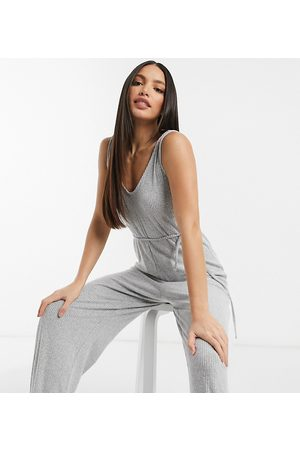 ASOS ASOS DESIGN Tall – Mix & Match – Superweicher, gerippter Freizeit-Jumpsuit mit Bindegürtel in Kalkgrau