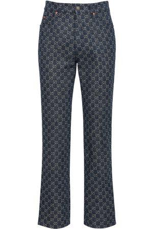Gucci Jeans Aus Denimjacquard Mit Leder