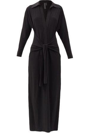 Norma Kamali Tie-front Stretch-jersey Maxi Dress