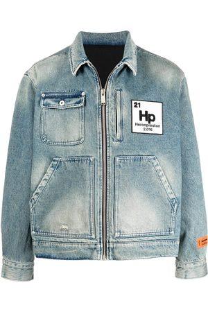 Heron Preston Herren Jeansjacken - Worker Jeansjacke mit Logo-Patch