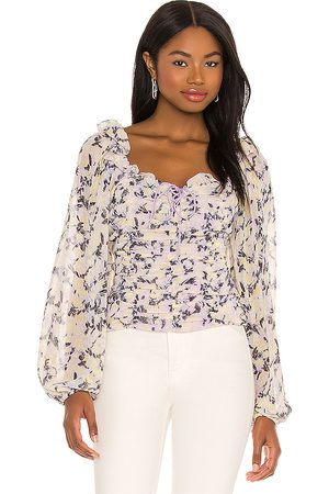 Free People Mabel Printed Blouse in ,Lavender. Size M, XS, S.