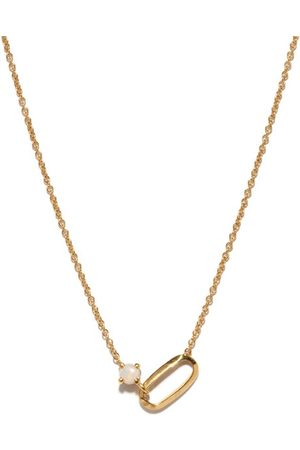 Lizzie Mandler October Birthstone Opal & 18kt Necklace