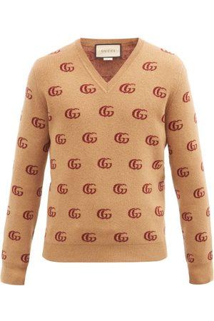 Gucci V-neck Gg-jacquard Wool Sweater