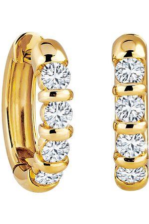 Moncara Damen Ohrringe - Damen Creolen, 585er Gelbgold mit 8 Diamanten