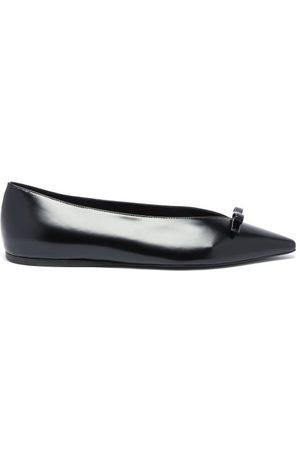 Prada Bow Point-toe Spazzolato-leather Ballet Flats