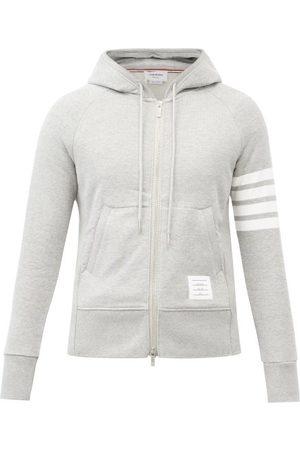 Thom Browne Four-bar Zip-through Cotton Hooded Sweatshirt
