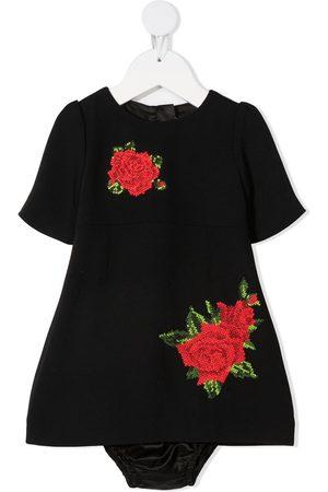 Dolce & Gabbana Kids Baby Freizeitkleider - Kleid mit Rosenstickerei
