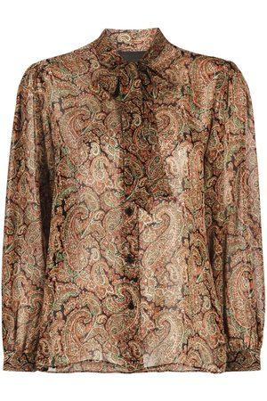 NILI LOTAN Seidenhemd mit Paisley-Print