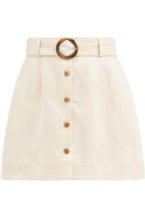 Lisa Marie Fernandez Belted High-rise Linen Mini Skirt