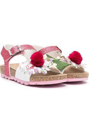 MONNALISA Mädchen Sandalen - Glitter-Sandalen mit Blumenapplikation