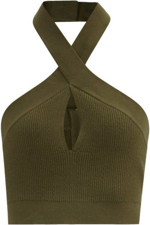 Balmain Twisted-halterneck Stretch-knit Cropped Top