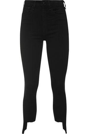 RAG&BONE Damen High Waist Jeans - Nina High Rise Ankle Ripped Skinny Black