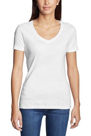 Eddie Bauer Favorite Shirt - Kurzarm mit V-Ausschnitt Damen Weiß Gr. XS