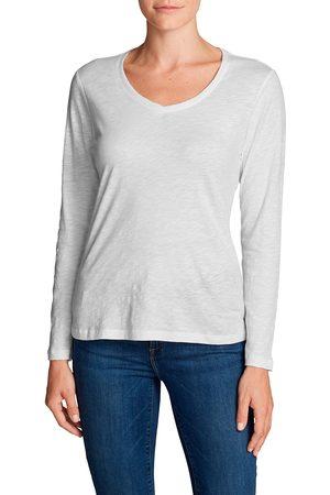 Eddie Bauer Legend Wash Slub-Shirt - Langarm mit V-Ausschnitt Damen Weiß Gr. XS