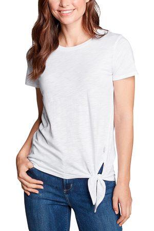 Eddie Bauer Gate Check Shirt - Kurzarm mit Knotendetail Damen Weiß Gr. XS