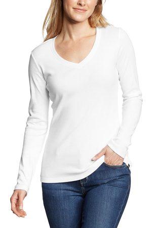 Eddie Bauer Favorite Shirt - Langarm mit V-Ausschnitt Damen Weiß Gr. L