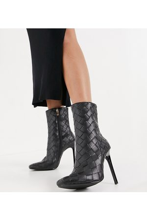 Simmi Wide Fit Simmi London – Wide Fit – Melina – Ankle-Boots mit Absatz mit Flechtdesign in