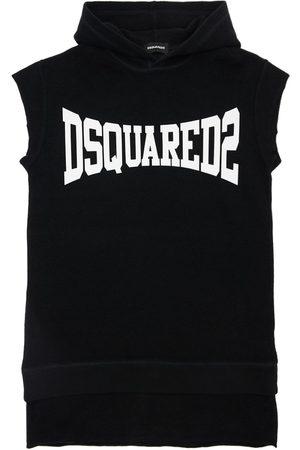 Dsquared2 Kleid Aus Baumwollfleece Mit Kapuze Und Druck