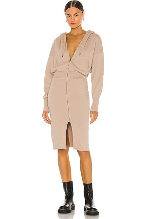 NSF Luq Hooded Zip Dress in ,Taupe. Size XS, S, M.