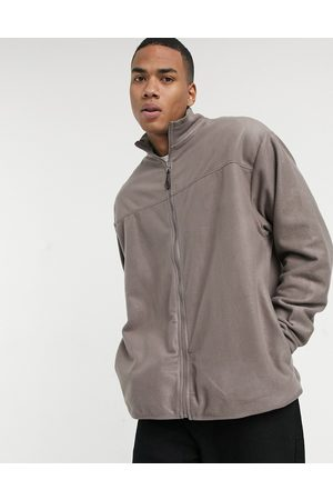 ASOS – Oversize-Trainingsjacke aus Polar-Fleece in Hellbraun