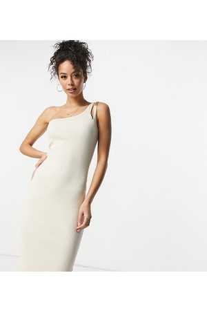 4th & Reckless Tall – Midikleid in aus Strick mit One-Shoulder-Träger und Kettendetail