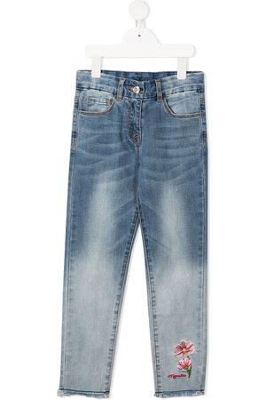 Monnalisa Mädchen Slim - Slim-Fit-Jeans mit Blumenstickerei