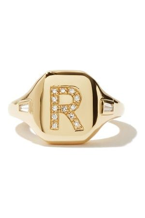 Shay Initial Diamond & 18kt Pinky Ring (r-z)