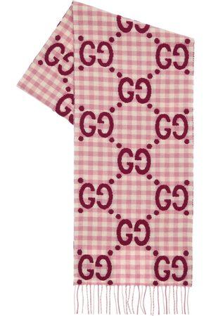GUCCI Stola Aus Wollmischung Mit Karos & Logo