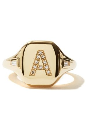Shay Initial Diamond & 18kt Pinky Ring (a-i)