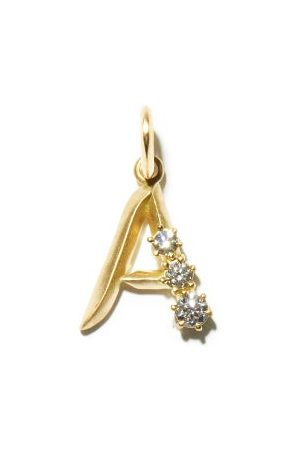 Jade Trau Diamond & 18kt Initial Charm (a-m)