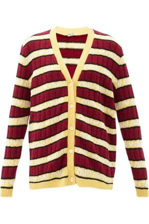 Miu Miu Logo-jacquard Striped Wool Cardigan