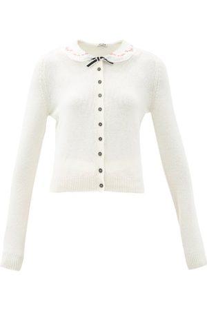 Miu Miu Embroidered-collar Cashmere Cardigan