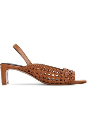 Souliers Martinez 50mm Hohe Sandaletten Aus Gewebtem Leder