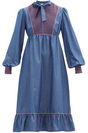LORETTA CAPONI Nadia Smocked Cotton-poplin Midi Dress