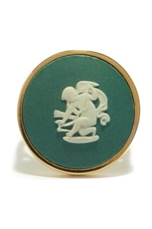 Ferian Damen Ringe - Cupid Wedgwood Cameo & 9kt Signet Ring