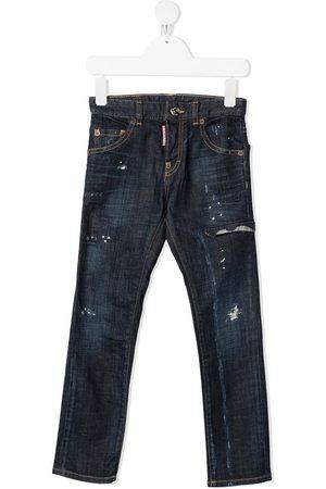 Dsquared2 Jungen Cropped - Distressed-Jeans mit Farbklecksen