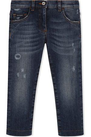 Dolce & Gabbana Schmale Distressed-Jeans