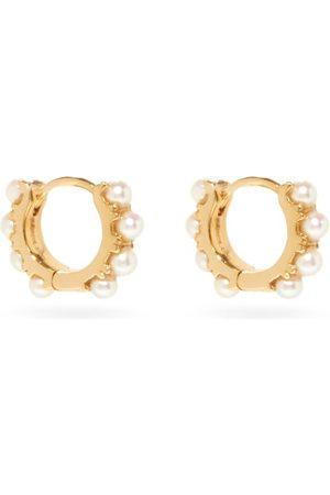 Rosa De La Cruz Pearl & 18kt Eternity Hoop Earrings