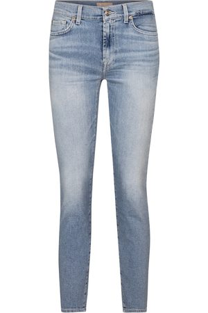 7 for all Mankind Damen High Waist Jeans - Mid-Rise Skinny Jeans Roxanne