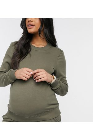 Pieces Maternity – Sweatshirt in Khaki, Kombiteil