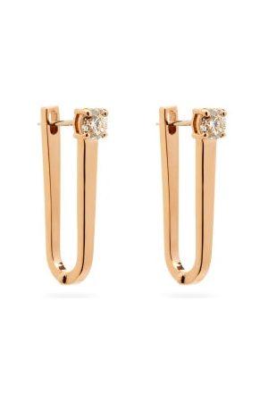 Melissa Kaye Aria U Diamond & 18kt Rose- Hoop Earrings