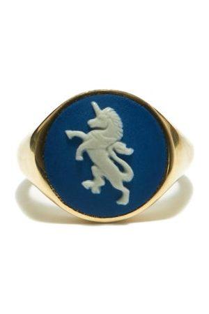 Ferian Portland Wedgwood Cameo & 9kt Signet Ring