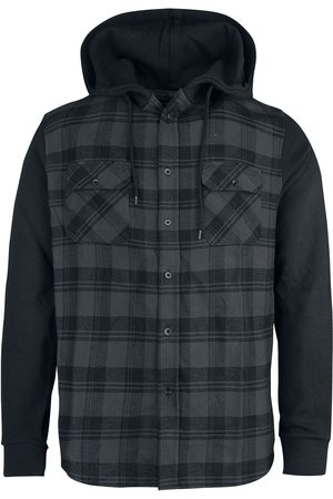 RED by EMP Hooded Checked Flanell Sweat Sleeve Shirt Flanellhemd /