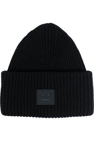 Acne Studios Hüte - Gerippte Mütze mit Gesicht-Patch
