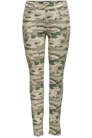 Only Damen High Waist Jeans - Onlblush Life Mid Sk Raw Ank Camo Mid Rise Jeans Damen