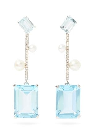 Mateo Damen Ohrringe - Diamond, Pearl, Topaz & 14kt White Earrings