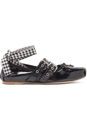 Miu Miu Damen Schuhe - Ribbon-strap Buckled Patent-leather Ballet Flats