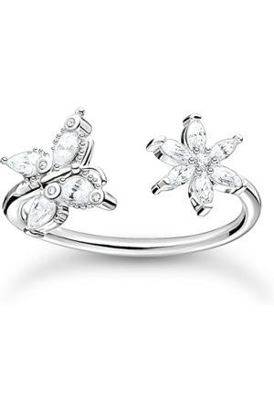 Thomas Sabo Ring Schmetterling mit Blume weiße Steine